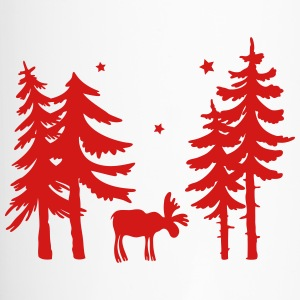 Elk in the forest. Wild with firs and stars. - Travel Mug