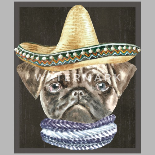Pug Sombrero Hat Scarf Dogs In Clothes Travel Mug  cda5d6d4a82