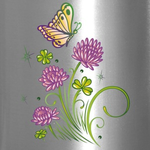 Summer meadow with clover and colorful butterfly. - Travel Mug