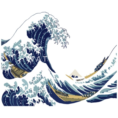hokusai great wave off kanagawa white version by donit spreadshirt