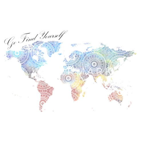 world map as a mandala go find yourself by motivationwall