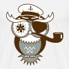 An owl with captain's hat, eye patch and pipe tobacco - Men's Premium T-Shirt