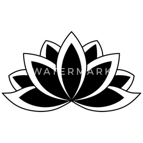 Black And White Buddhist Symbol Lotus Flower Mens Premium T Shirt