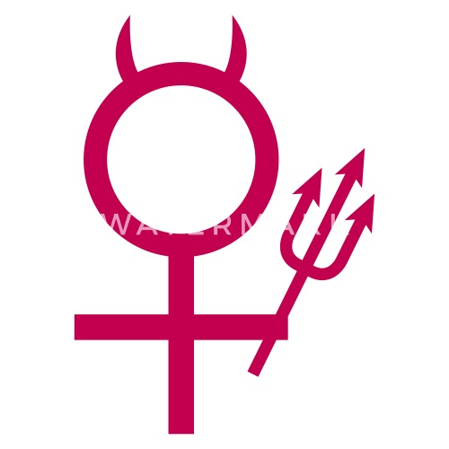 Devil Woman Trident Devil Horns Female Symbol By Rockitshirts