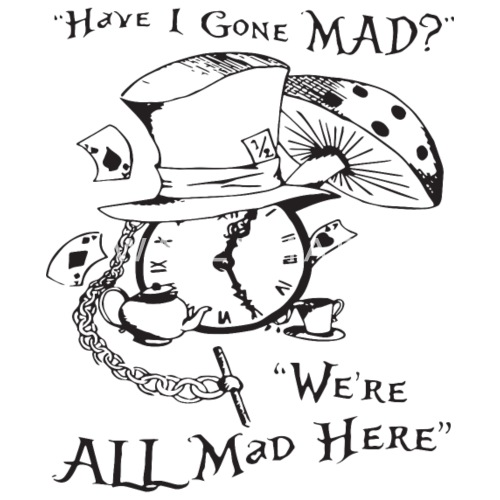 897efd97a10 We re All Mad Here Alice In Wonderland Cheshire Di - Men s Premium T-Shirt.  Back. Back. Design