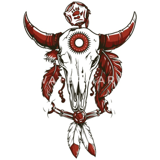 Cow Skull Indian Leather Logo Symbol Drawing Paint Men's