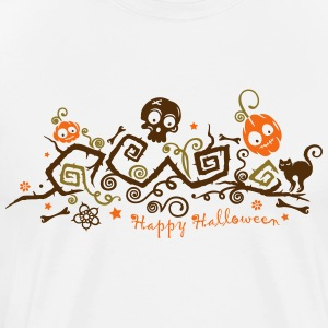 Halloween ornament with pumpkins and skull. - Men's Premium T-Shirt