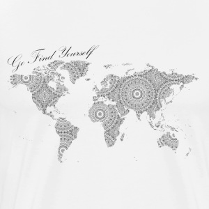 World Map as a Mandala - Go find yourself Black - Men's Premium T-Shirt