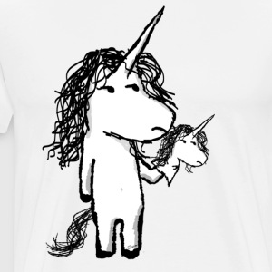 Unicorn with a mini friend angry - Men's Premium T-Shirt