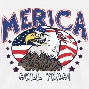 Merica Hell Yeah Patriotic Bald Eagle - Men's Premium T-Shirt