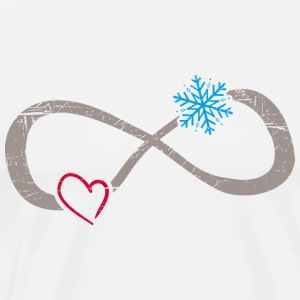 Infinite Love ∞ I Love Snow Winter ∞ Snowflake - Men's Premium T-Shirt