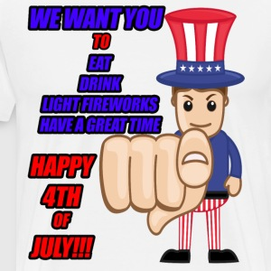 Hosting 4th of July! We Want you to Eat, Drink! - Men's Premium T-Shirt