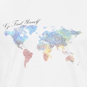World Map as a Mandala - Go find yourself - Men's Premium T-Shirt