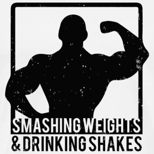 Gym - Smashing Weights and Drinking Shakes - Men's Premium T-Shirt