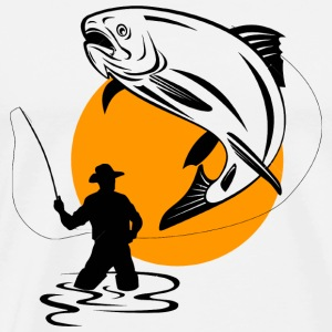 Fisherman - FLY FISHERMAN CATCHING A LEAPING TRO - Men's Premium T-Shirt
