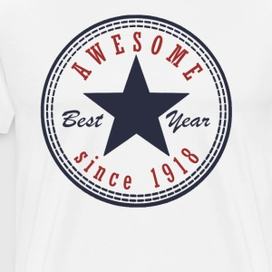 99th Birthday Awesome since T Shirt Made in 1918 - Men's Premium T-Shirt