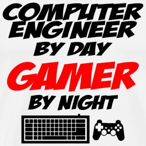 Gamer - computer engineer by day gamer by night - Men's Premium T-Shirt