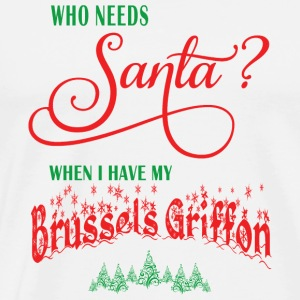 Brussels Griffon Who needs Santa with tree - Men's Premium T-Shirt