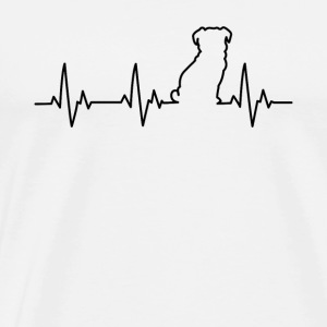 Pug Pulse Silhouette ECG Heart Beat - Men's Premium T-Shirt