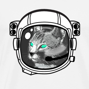 Astronaut cat Space NASA helmet sci-Fi green eye - Men's Premium T-Shirt