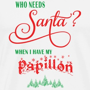 Papillon Who needs Santa with tree - Men's Premium T-Shirt