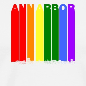 Ann Arbor Michigan Skyline Rainbow LGBT Gay Pride - Men's Premium T-Shirt