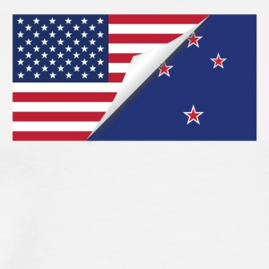 Half American Half New Zealand Flag - Men's Premium T-Shirt