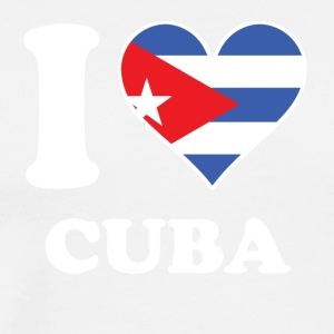 I Love Cuba Cuban Flag Heart - Men's Premium T-Shirt