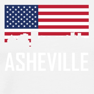 Asheville North Carolina Skyline American Flag - Men's Premium T-Shirt