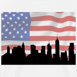 U.S.A. flag and New York city.
