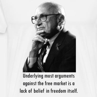 Milton Friedman Concentrated Power White Mens Premium T Shirt Navy