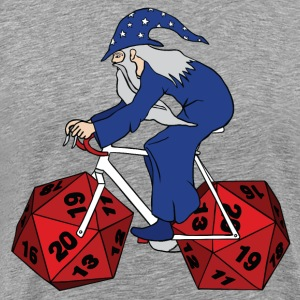 wizard riding bike with 20 sided dice wheels