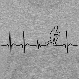 Heartbeat Rugby Player fun funny cool shirt gift - Men's Premium T-Shirt