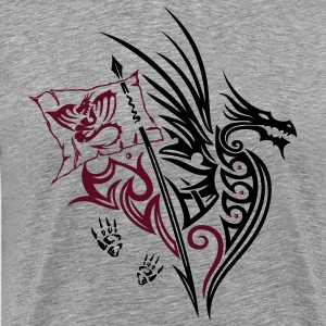 Fantasy dragon with wings and flag. - Men's Premium T-Shirt