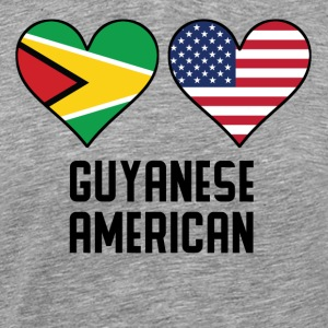 Guyanese American Heart Flags - Men's Premium T-Shirt