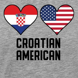 Croatian American Heart Flags - Men's Premium T-Shirt