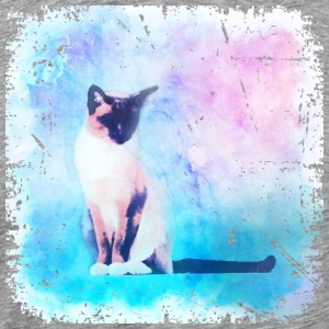 Pink + Blue  Black + White Watercolor Cat - Men's Premium T-Shirt