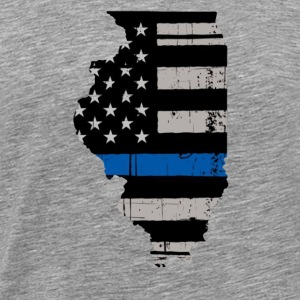 Illinois Thin Blue Line Police Cop Wife Girlfriend - Men's Premium T-Shirt