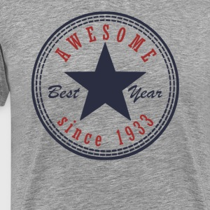 84th Birthday Awesome since T Shirt Made in 1933 - Men's Premium T-Shirt