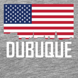 Dubuque Iowa Skyline American Flag - Men's Premium T-Shirt