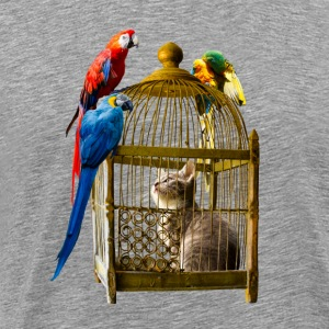 Cat and Parrot - Men's Premium T-Shirt