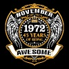 1972 45 Years Of Being Awesome November - Men's Premium T-Shirt