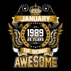 January 1989 29 Years Of Being Awesome - Men's Premium T-Shirt