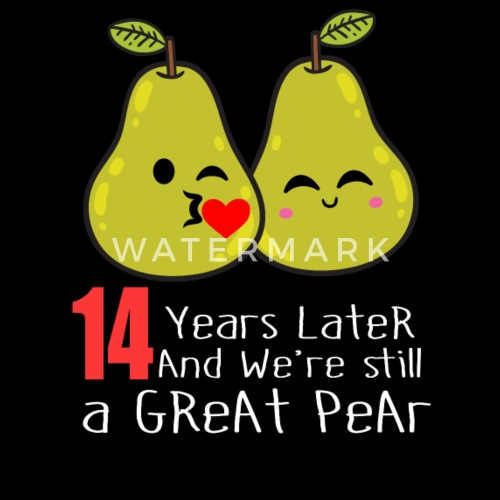 14th Year Wedding Anniversary Gift: 14th Wedding Anniversary Funny Pear Couple Gift Men's