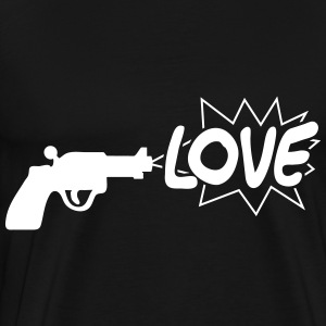 gun shooting the word love - Men's Premium T-Shirt