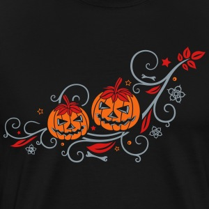 Halloween ornament with pumpkins and flowers. - Men's Premium T-Shirt