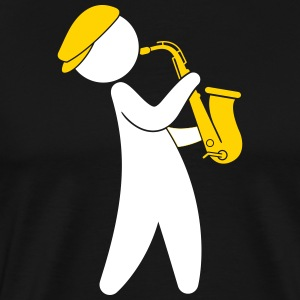 A Jazz Musician Playing On The Saxophone - Men's Premium T-Shirt