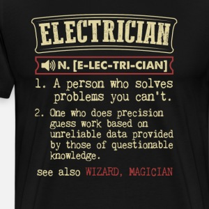 Electrician Funny Dictionary Term Men's Badass T-S