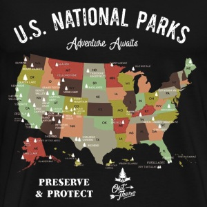 National Park Map Vintage Hiking Camping - Men's Premium T-Shirt