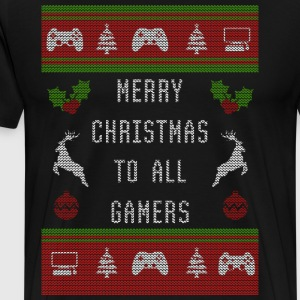 Xmas Ugly Sweater Merry Christmas to all Gamers - Men's Premium T-Shirt